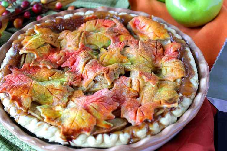 Colorful Autumn Leaf Crusted Pie