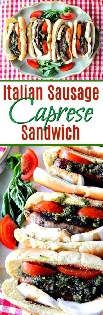 Title text vertical collage images of Caprese Sausage Sandwiches on a platter