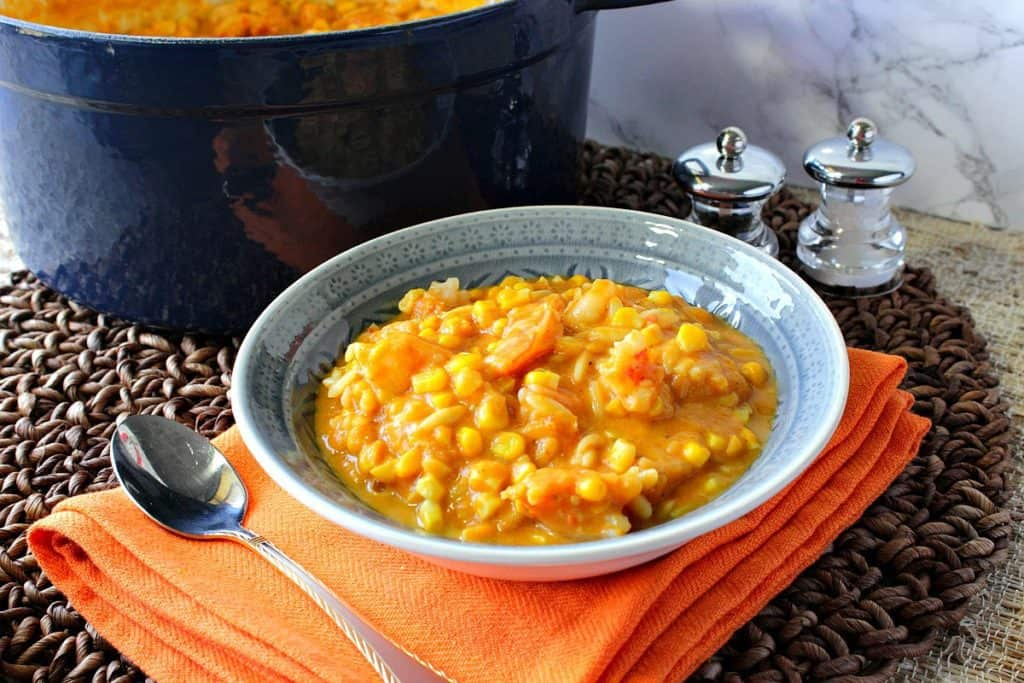 Seasonally Delicious Pumpkin Corn Chowder with Shrimp and Pasta | Kudos Kitchen by Renee