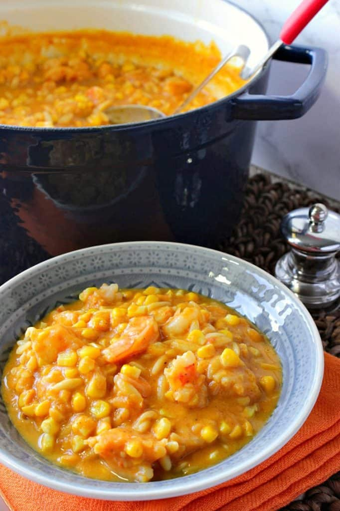 Creamy Pumpkin Corn Chowder with Shrimp and Pasta | Kudos Kitchen by Renee