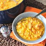 Seasonally Delicious Pumpkin Corn Chowder with Shrimp and Pasta
