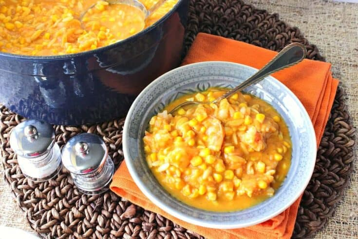 Seasonally Delicious Pumpkin Corn Chowder with Shrimp and Pasta