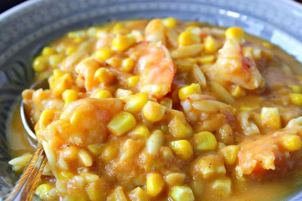 Pumpkin Corn Chowder with Shrimp and Pasta | Kudos Kitchen by Renee