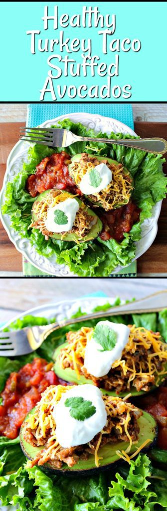 Turkey Taco Stuffed Avocados with sour cream and cilantro. | Kudos Kitchen by Renee
