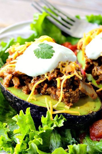 Turkey Taco Stuffed Avocados with Salsa and Sour Cream