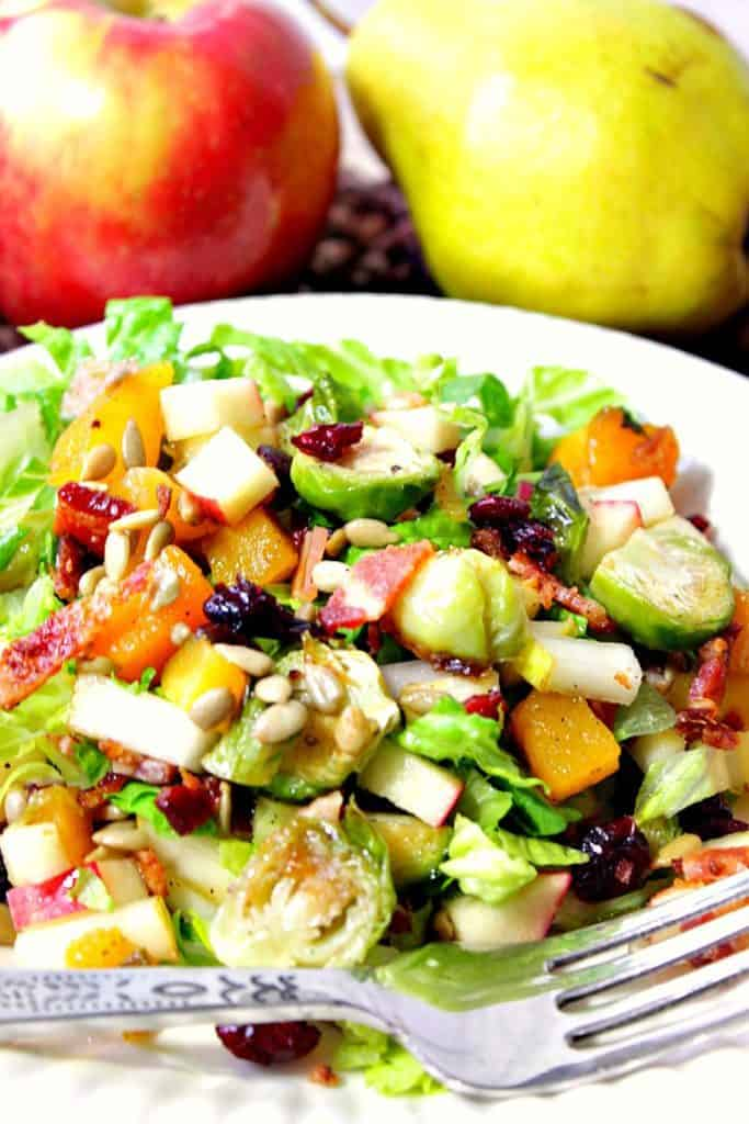 Chopped Fall Fruit & Vegetable Salad with Bacon and Brussels Sprouts - kudoskitchenbyrenee.com