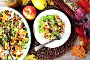Autumn Harvest Chapped Fruit & Vegetable Salad with apples and pears