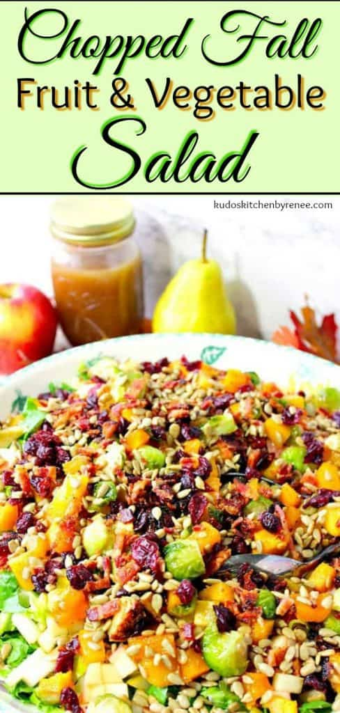 This Chopped Fall Fruit & Vegetable Salad has all the colors and flavors of fall and can easily grace any table, for any occasion. - kudoskitchenbyrenee.com