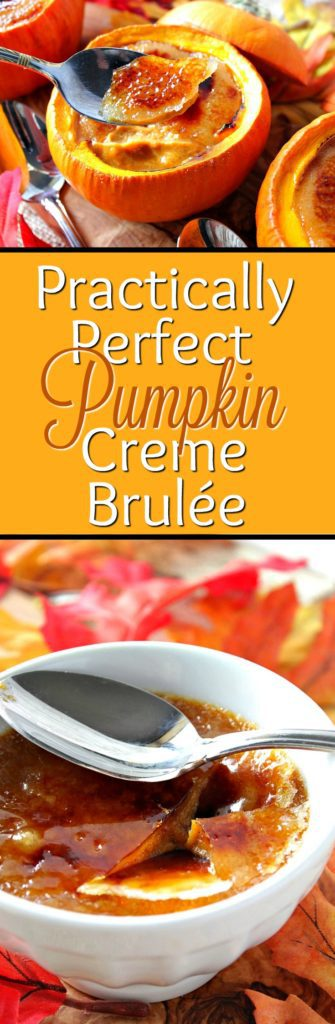 Creamy Pumpkin Creme Brulée custard is baked to perfection in a real pumpkin ramekin bowl and topped with a caramelized sugar shell. Delicious!! - Kudos Kitchen by Renee #PumpkinWeek