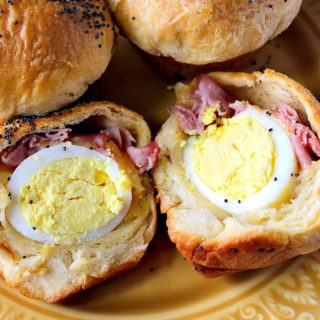 Hard Boiled Egg Stuffed Biscuits with Ham & Cheese