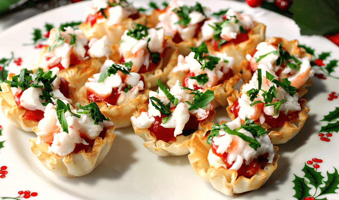 Festive Shrimp Cocktail Appetizers Bites in Phyllo Cups with Homemade Cocktail Sauce - kudoskithenbyrenee.com