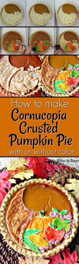 A title text vertical collage for cornucopia pumpkin pie.