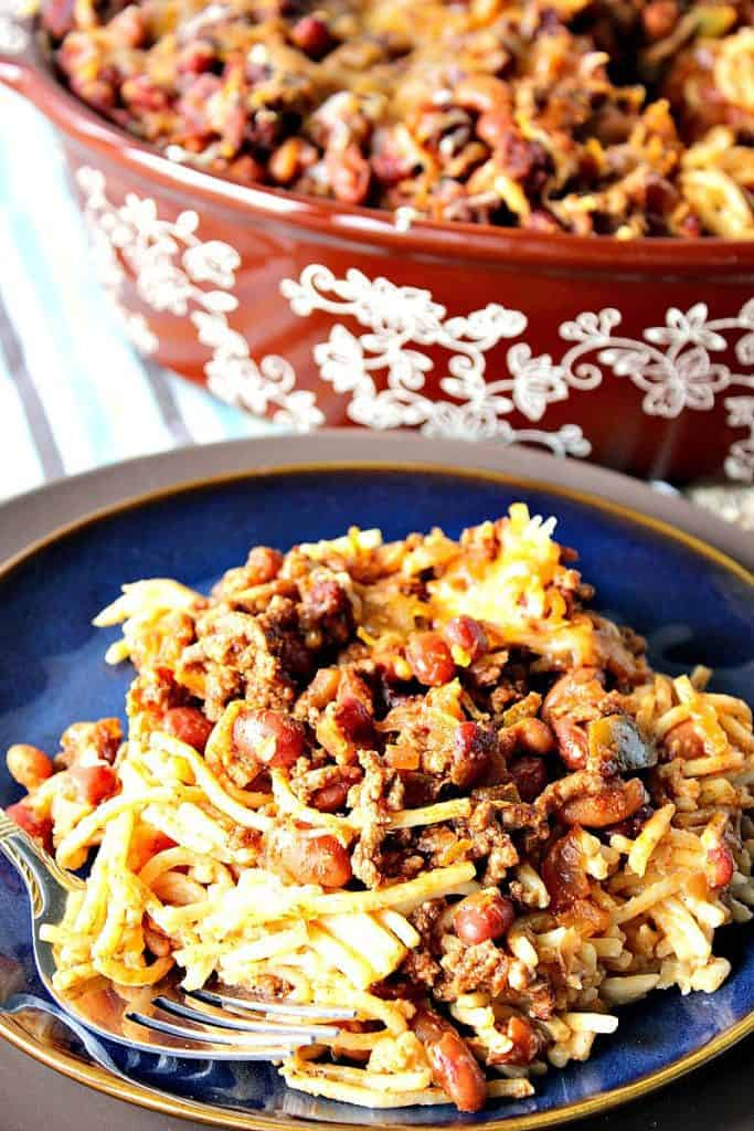 Make Ahead Spaghetti Western Chili Casserole | Kudos Kitchen by Renee