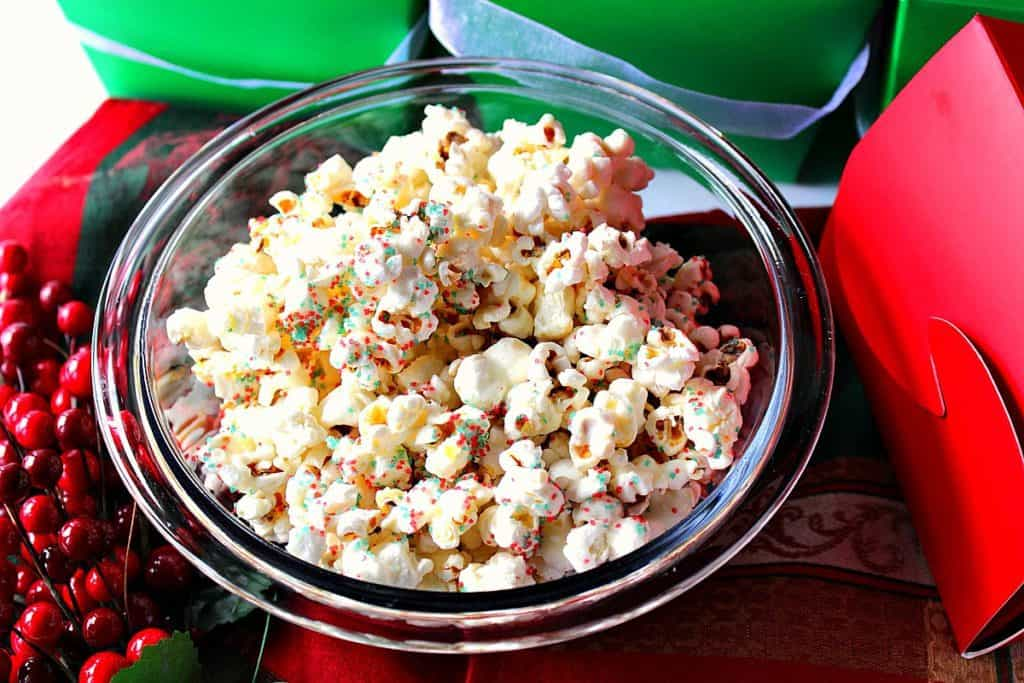 Easy Delicious White Chocolate Popcorn for Gift Giving | Kudos Kitchen by Renee