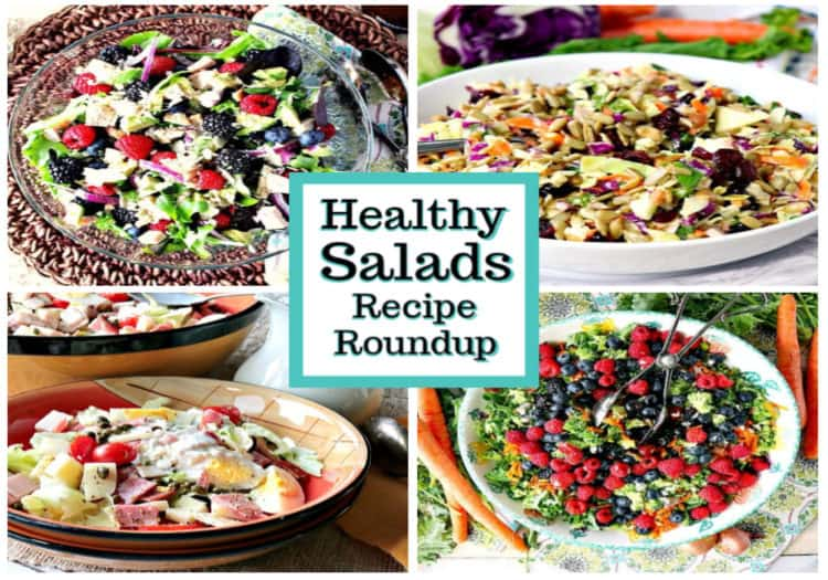 featured image collage of healthy salads recipe roundup