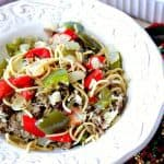 Christmas Pasta with Red & Green Bell Peppers - kudoskitchenbyrenee.com