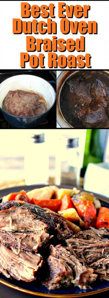 Long title collage images of Dutch Oven Braised Pot Roast