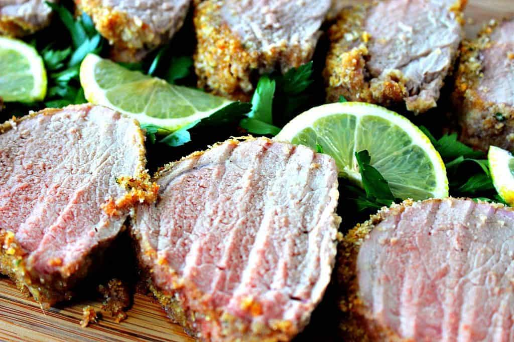 Honey Dijon Pork Tenderloin with Breadcrumbs & Lemon - www.kudoskitchenbyrenee.com