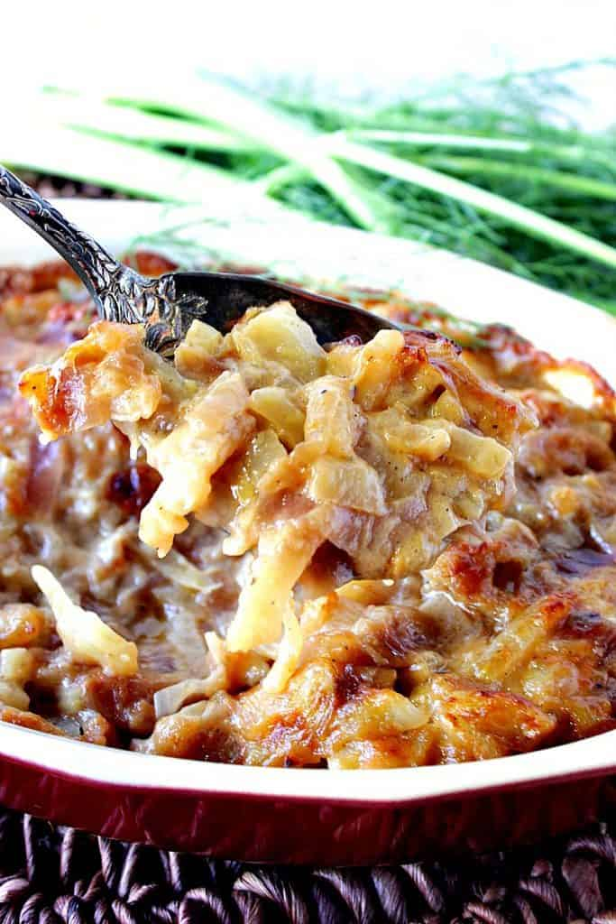 Deliciously Cheese Baked Fennel Onion Gratin - www.kudoskitchenbyrenee.com