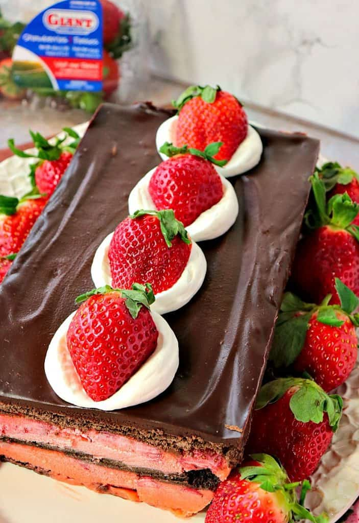 No Bake Layered Chocolate Strawberry Pudding Cake - www.kudoskitchenbyrenee.com