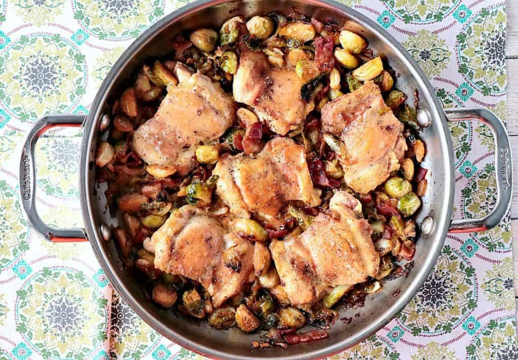 Skillet Chicken Thighs with Brussels Sprouts & Bacon - www.kudoskitchenbyrenee.com