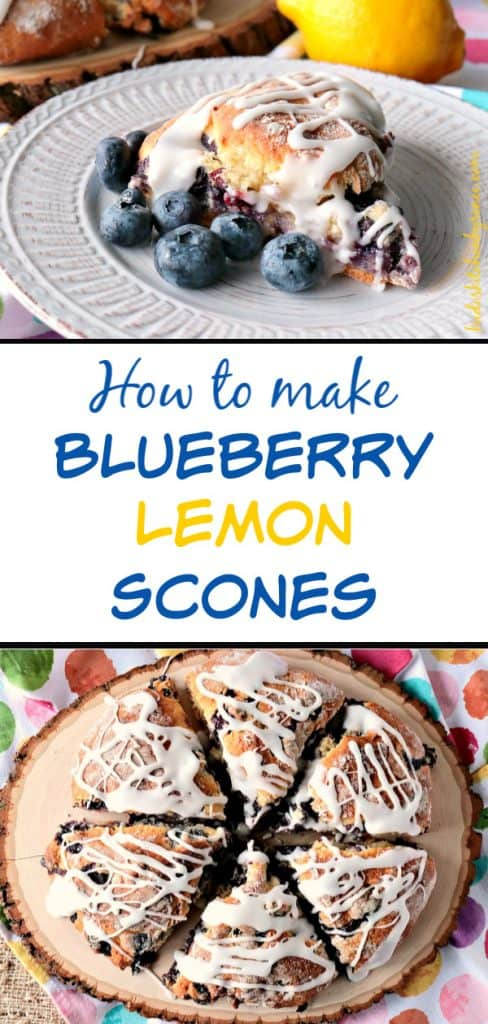 Vertical title text collage image of blueberry lemon scones