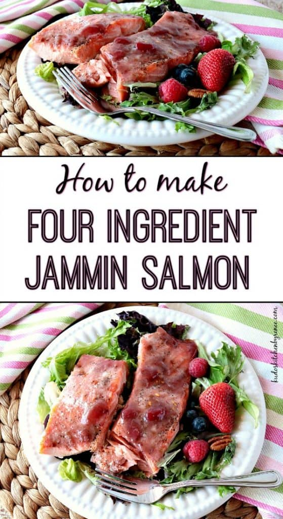 Jammin Salmon vertical photo collage with title text