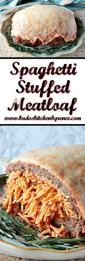 Spaghetti Stuffed Meatloaf with a Melted Cheese Topping - www.kudoskitchenbyrenee.com