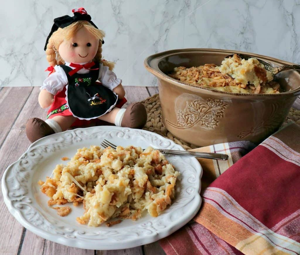 Layered German Spaetzle Casserole with Cheese & Crispy Onion Casserole - www.kudoskitchenbyrenee.com