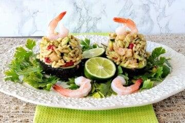 Orzo, Shrimp & Vegetable Salad Stuffed Avocados