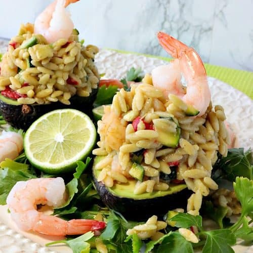 Elegant Orzo, Shrimp & Vegetable Salad Stuffed Avocados. - www.kudoskitchenbyrenee.com