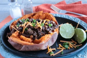 Spicy Tex-Mex Stuffed Sweet Potatoes with Ground Beef & Beans - www.kudoskitchenbyrenee.com