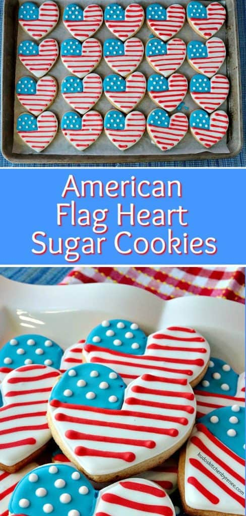 Photo title collage of American Flag Heart Cookies