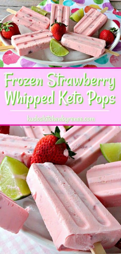 Title text photo collage of frozen strawberry popsicles with fresh strawberries and lime wedges.
