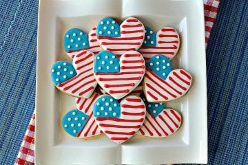 American Flag Heart Decorated Cookies