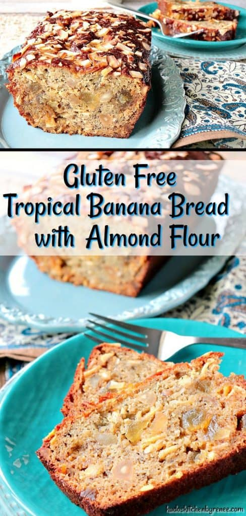 Whether you're a gluten eater or a gluten freer-er, you're going to be AMAZED and EXCITED about the flavor and texture of this delicious Gluten Free Tropical Banana Bread with Almond Flour & Macadamia Nuts. - kudoskitchenbyrenee.com