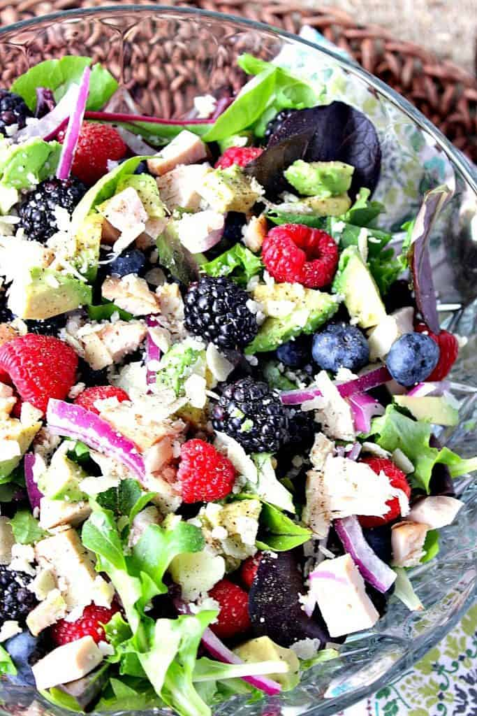 This Berry Delicious Chicken Avocado Salad is my very favorite salad. While I don't always add chicken, but I do always make my own vinaigrette. Today I'm sharing how to make my strawberry balsamic vinaigrette. It's a wonderfully fruity compliment to this tasty, healthy, and satisfying salad. - kudoskitchenbyrenee.com