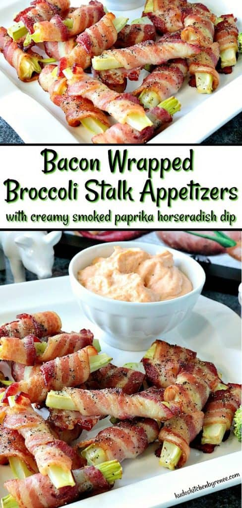 The idea for these Bacon Wrapped Broccoli Stalk Appetizers came to me one night as I was preparing broccoli for dinner. I'm not normally a broccoli stalk eater, but disposing of them is awfullywasteful. That's when my lightbulb moment hit, and the results are utterly delicious! - kudoskitchenbyrenee.com