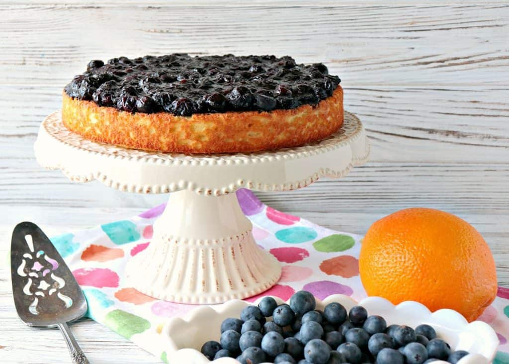 Golden Almond Cake with Fresh Blueberry Orange Compote is keto friendly, gluten-free and low carb. It's simply delicious! - kudoskitchenbyrenee.com