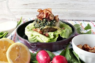 Beef Burger with Creamy Lemon Spinach & Fried Radish Chips
