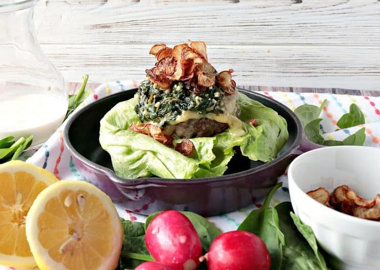 Ground Beef Burger with Creamy Lemon Spinach and Radish Chip Topping - kudoskitchenbyrenee.com