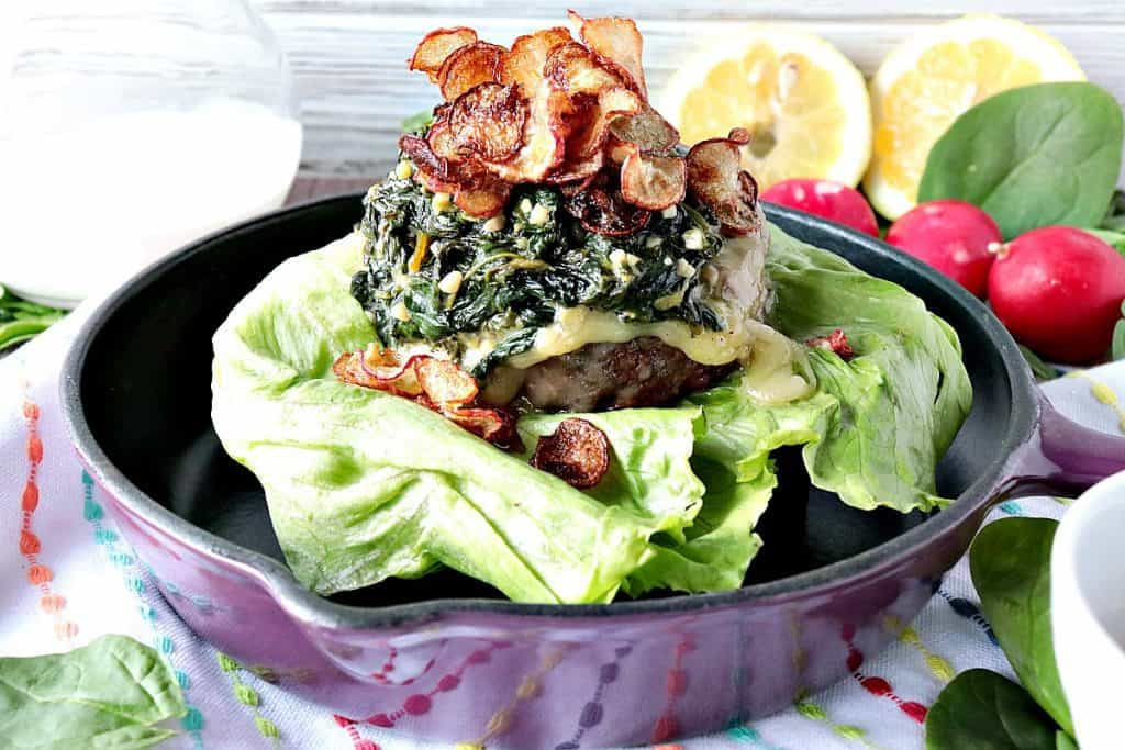 Ground Beef Burger with Creamy Lemon Spinach and Fried Radish Chips kudoskitchenbyrenee.com