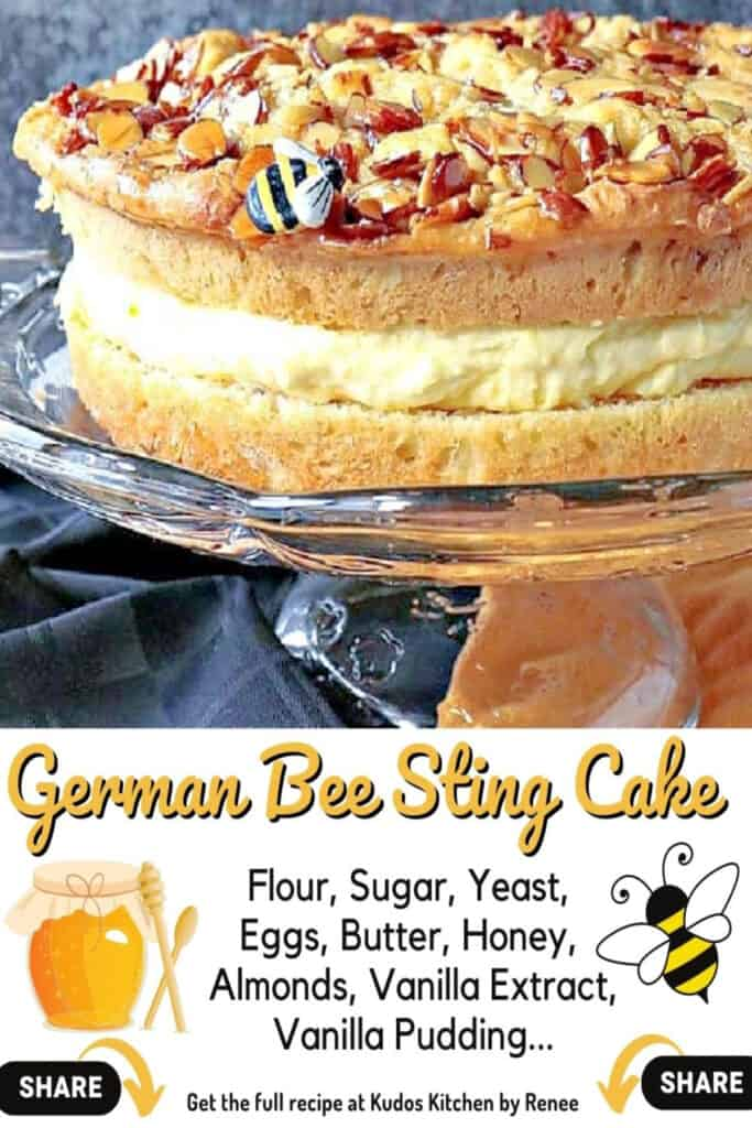 A vertical closeup along with a cute title text overlay graphic with ingredients for German Bee Sting Cake