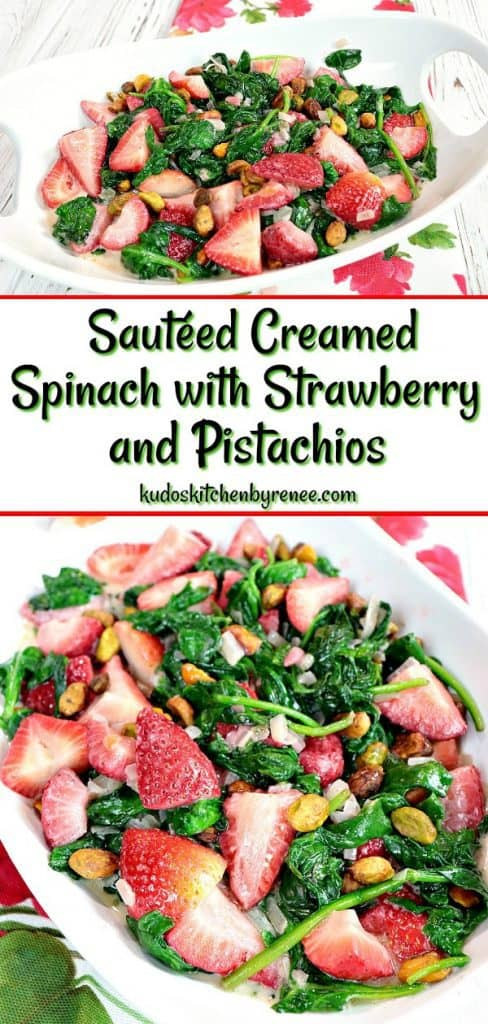 Once you taste this recipe for Healthy Sautéed Creamed Spinach & Strawberry you'll be smitten with the warm and delicious flavors of a dish which is typically served as a salad. - kudoskitchenbyrenee.com