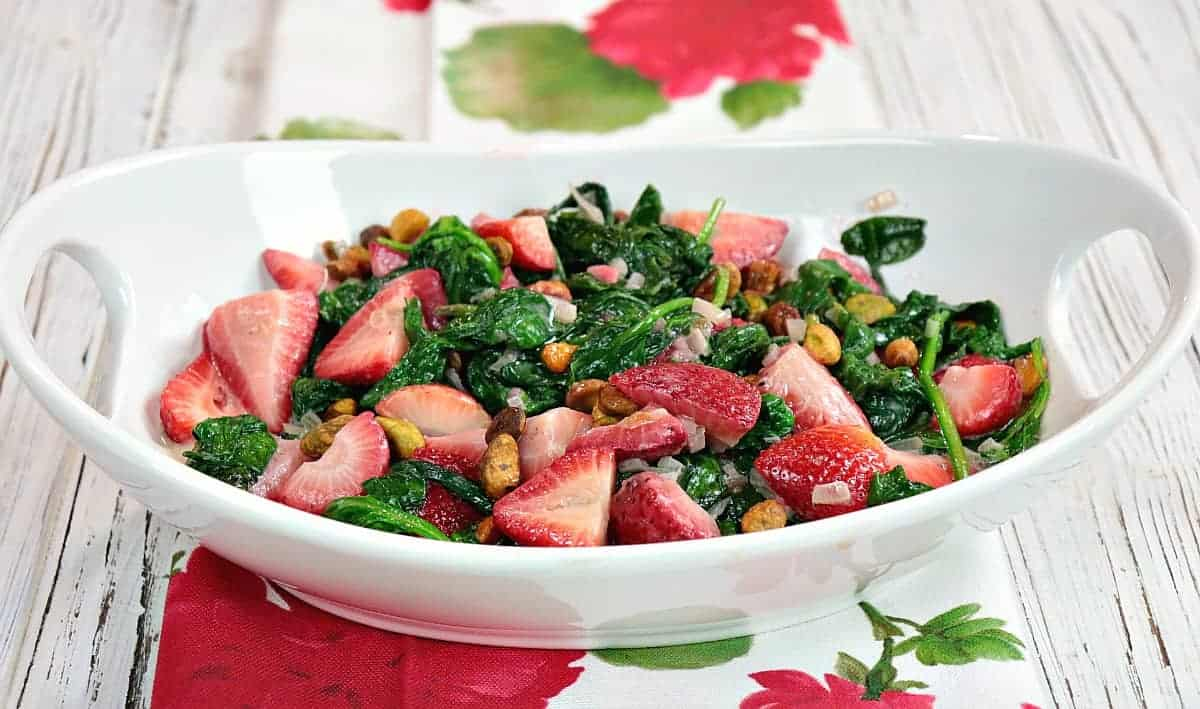 Nutritious Sautée Spinach & Strawberry Side Dish with Pistachios - kudoskitchenbyrenee.com