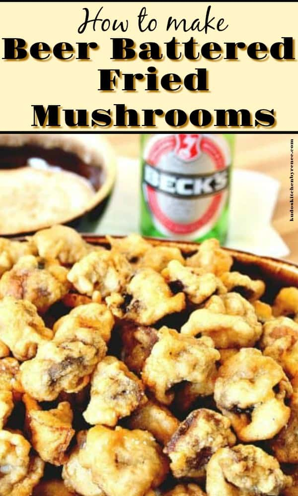 vertical title text image of beer battered fried mushrooms in a bowl with a bottle of beer in the background