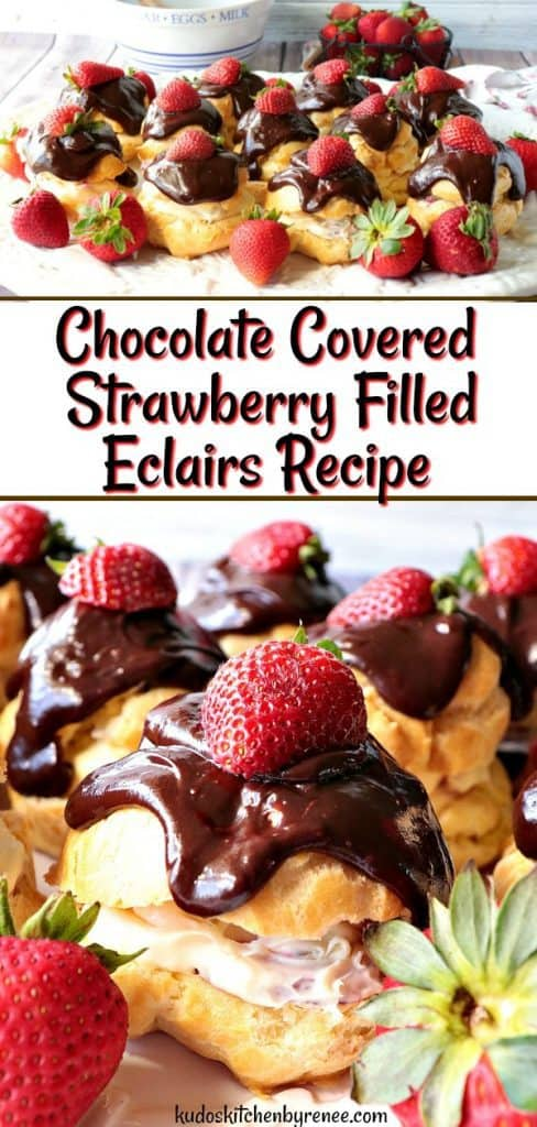 A vertical photo collage of chocolate covered strawberry filled cream puffs.