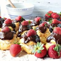 Chocolate Covered Strawberry Filled Eclairs #SummerDessertWeek