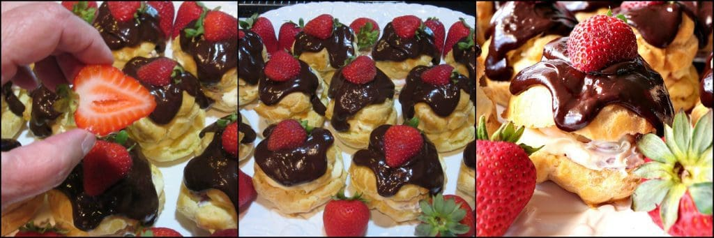 How to make chocolate covered strawberry filled eclairs photo tutorial. kudoskitchenbyrenee.com