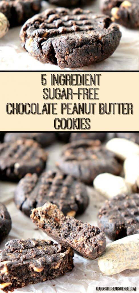 5 Ingredient Sugar Free Chocolate Peanut Butter Cookies Vertical Pin Collage Image - kudoskitchenbyrenee.com